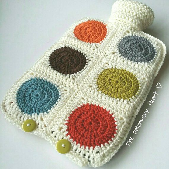 Orla Kiely inspired Hot Water Bottle with removable crocheted cover ...