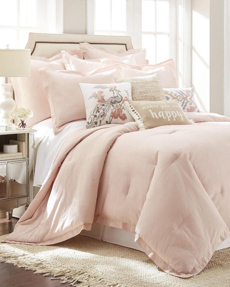 Soft Linen Blend Light Pink Blush Contemporary Comforter Set Bedding King Size Homecollection Conte Romantic Bedroom Design Bedroom Design Small Room Bedroom