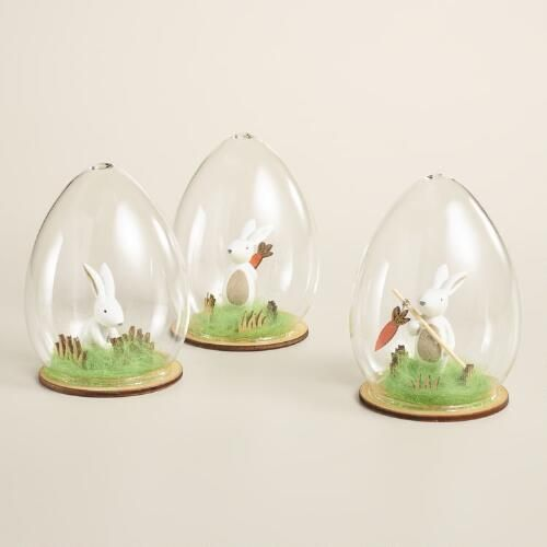 Glass Cloche Bunny Decor Set of 3 | World Market