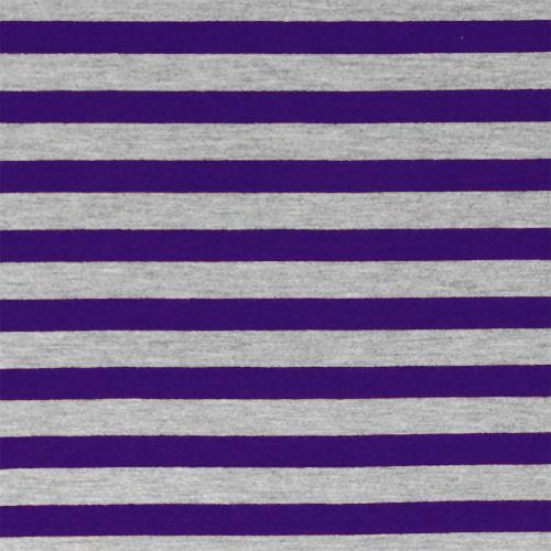 5614d2c60e5 Purple Heather Gray Half Inch Stripe Cotton Jersey Blend Knit Fabric - A  pretty purple and heather gray stripes on cotton jersey poly rayon blend  knit.