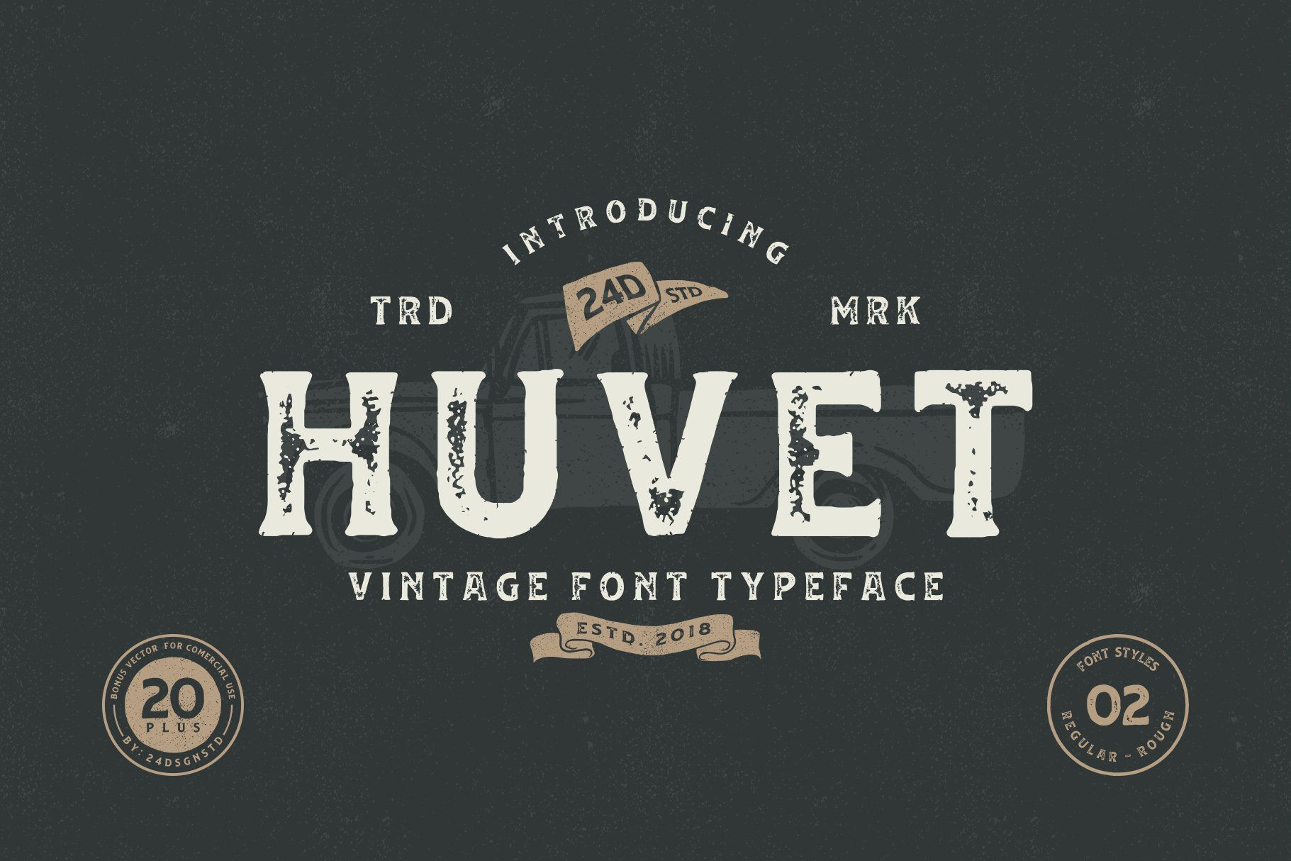 Huvet Font is a striking display font. Its masculine style