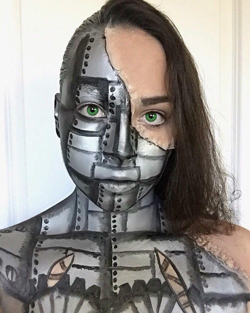 Face/Body Art - Half Robot Half Human - Olivia B. in 2019 ...