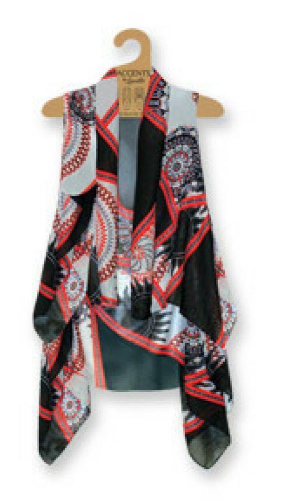 Accents by Lavello - Sheer Designer Vest - Blk/Red/Gray/Wht Sun Pn