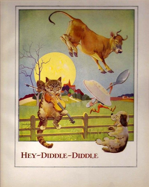 Hey Diddle Diddle Color Plate Lawson Wood Nursery Rhymes ...