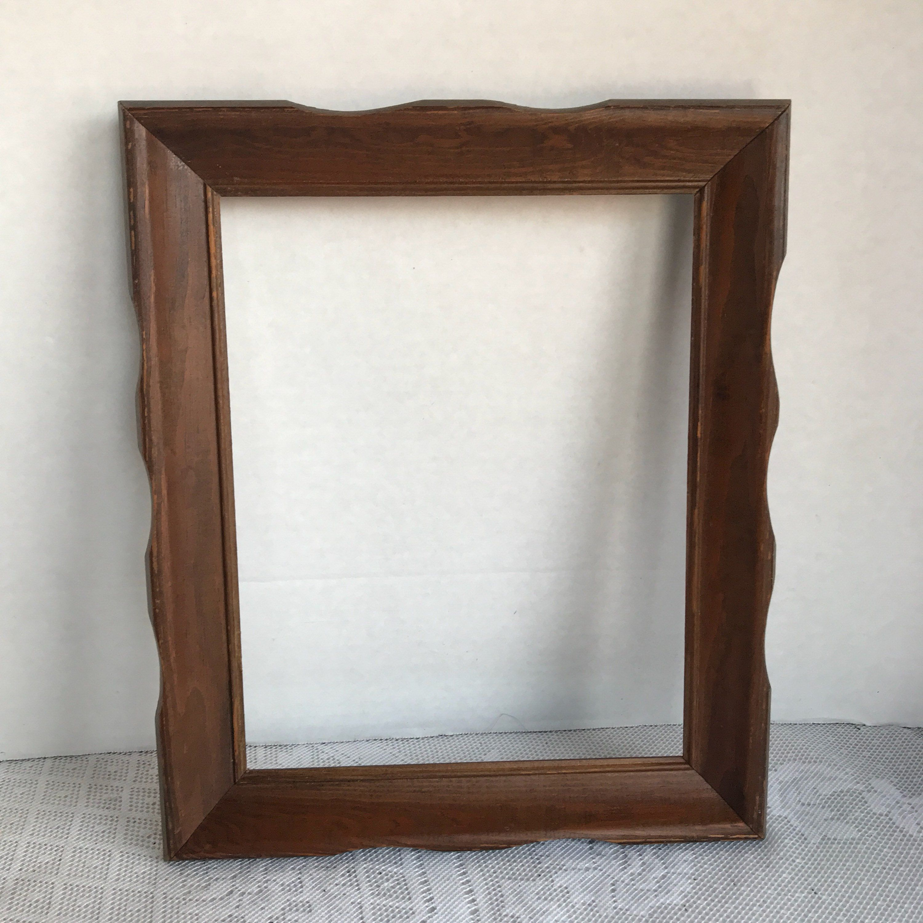 Vintage Wood Ornate Picture Frame / Carved Brown Wooden 8 X 10 Inch ...