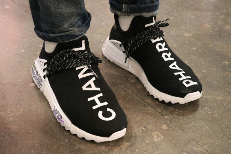 An On Feet Look At The Chanel X Adidas Originals Pharrell Williams Hu Nmd Chanel Tennis Shoes Sneakers Addidas Shoes