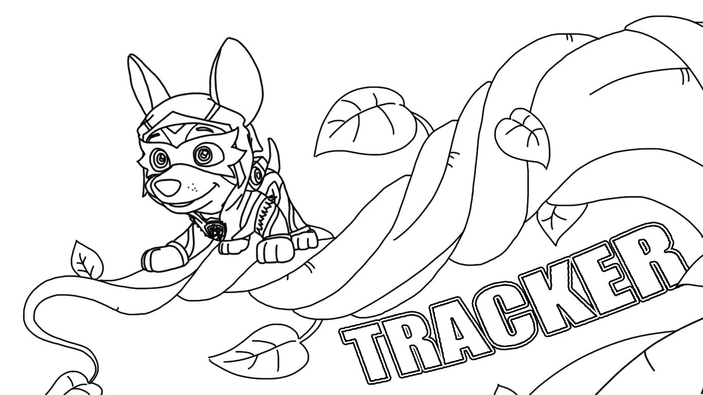 paw patrol mighty pups tracker coloring pages  coloring