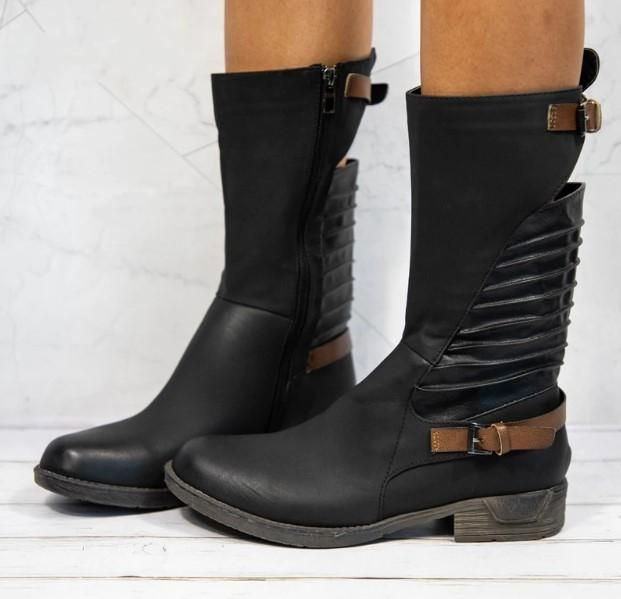 c97e29d0b10 Women s Winter PU Leather Western Calf Boots With Buckles