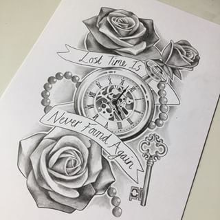 Rose And Clock Tattoo Designs For Women