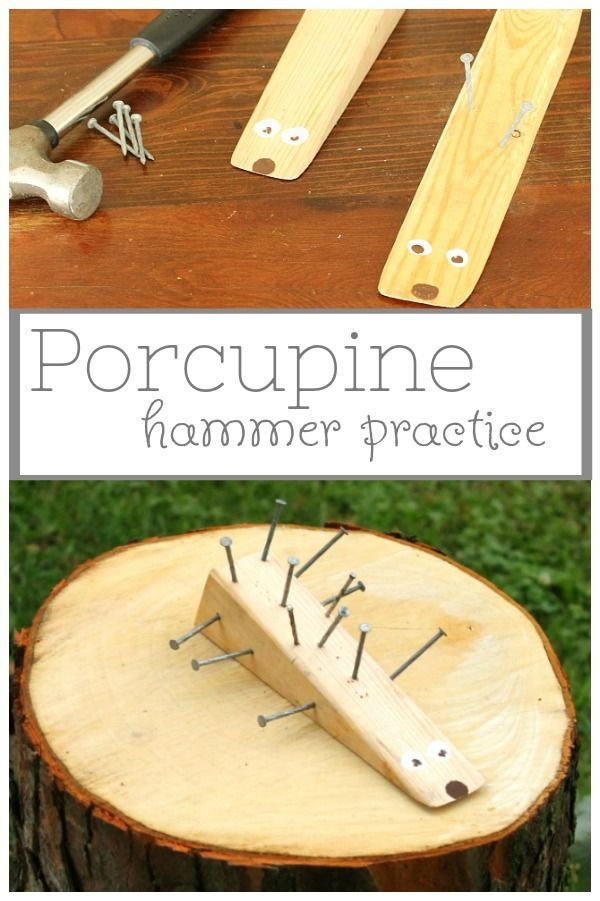 Adorable woodworking craft for kids! Use a hammer and nails to make this cute wooden porcupine. Such a fun craft for preschoolers and big kids too. #craft #hammer #woodworking #kids #preschool #hedgehog #porcupine montessori