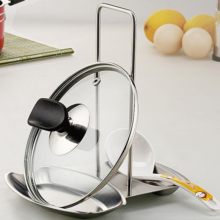 Stainless Steel Lid Spoon Rest Holder Pan Stand Pot Cover Rack Kitchen Tool New