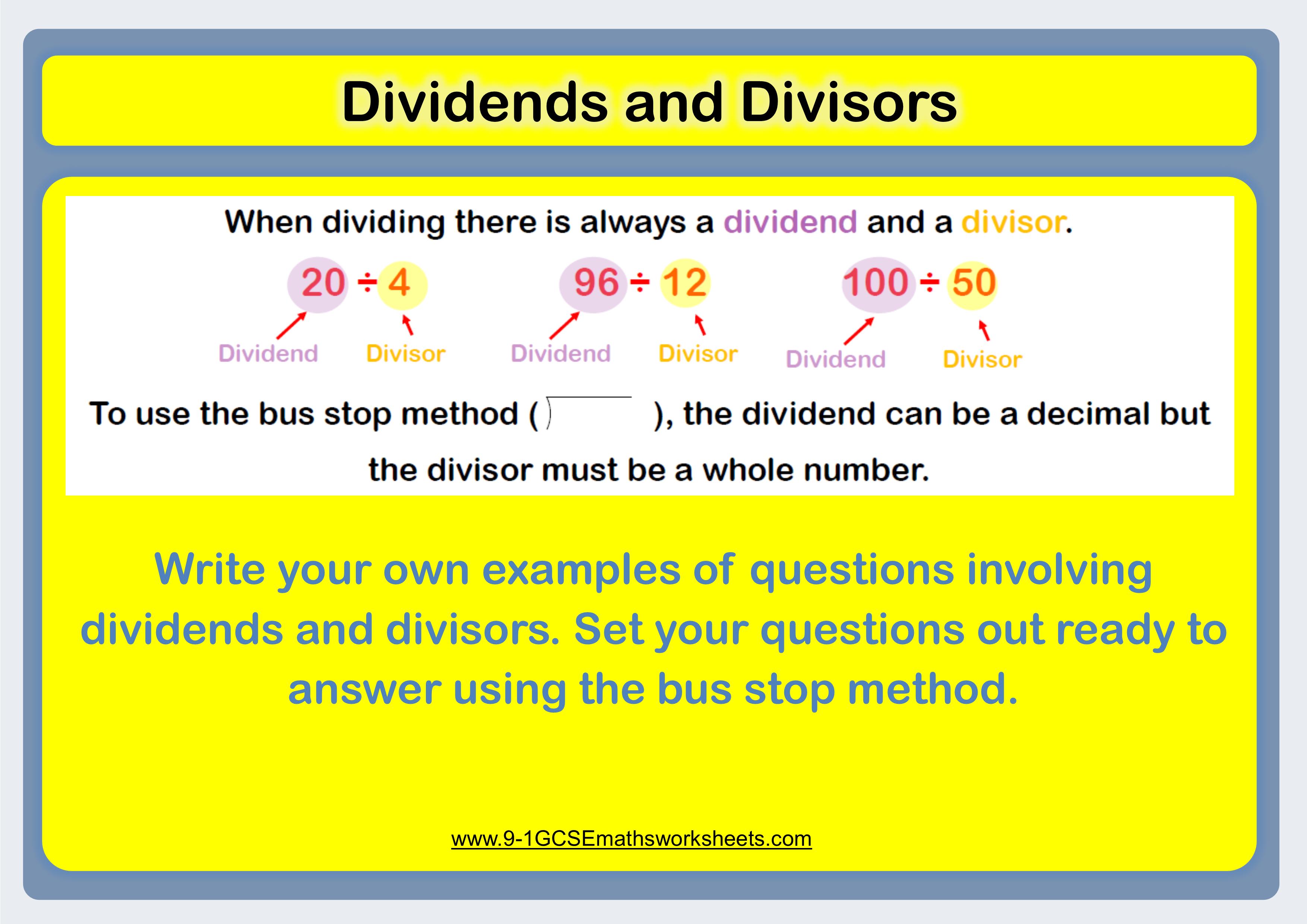 Dividing Decimals Worksheet Starter Asking Students To