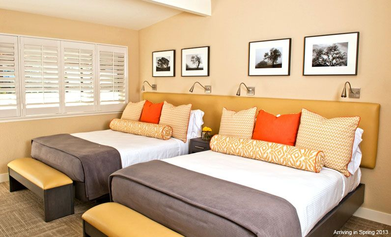 Double Queen - Double Queen at Calistoga Spa Hot Springs, California. Headboards and Pillows by Pollin's. Interior design by Lesley Wilks Design.