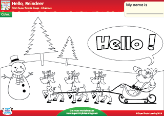 hello reindeer christmas coloring worksheet from super simple learning prek kindergarten esl