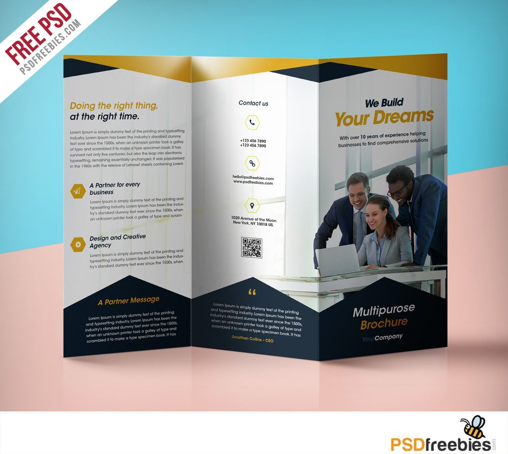 One Fold Brochure Template Free: Professional Corporate Tri-Fold Brochure Free PSD Template