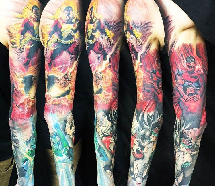 dc comics sleeve tattoo by steve butcher best tattoos pinterest comic tattoo and comic tattoo. Black Bedroom Furniture Sets. Home Design Ideas
