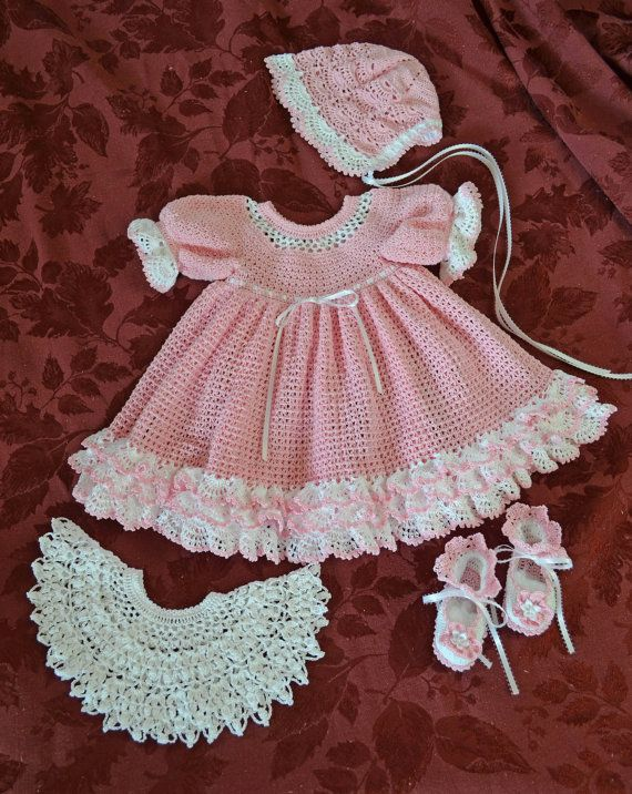 Pink & White Crocheted Baby Dress with detachable Lace Collar ...