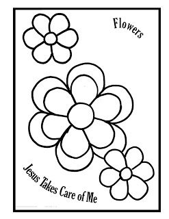 Flowers Jesus Takes Care Of Me Sunday School Coloring Pages