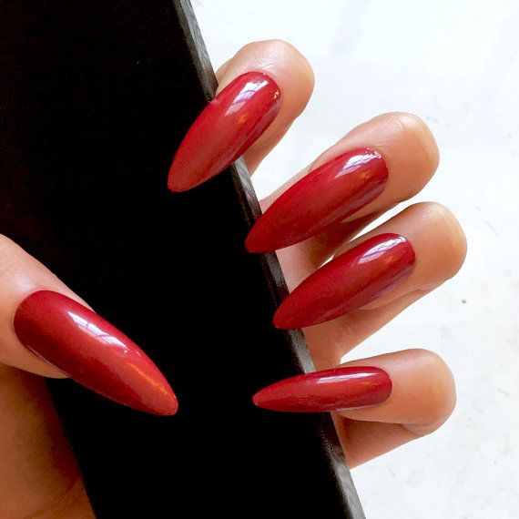 Red Stiletto Fake Nails - Kitten Claws - Extra Long Stiletto Nails ...