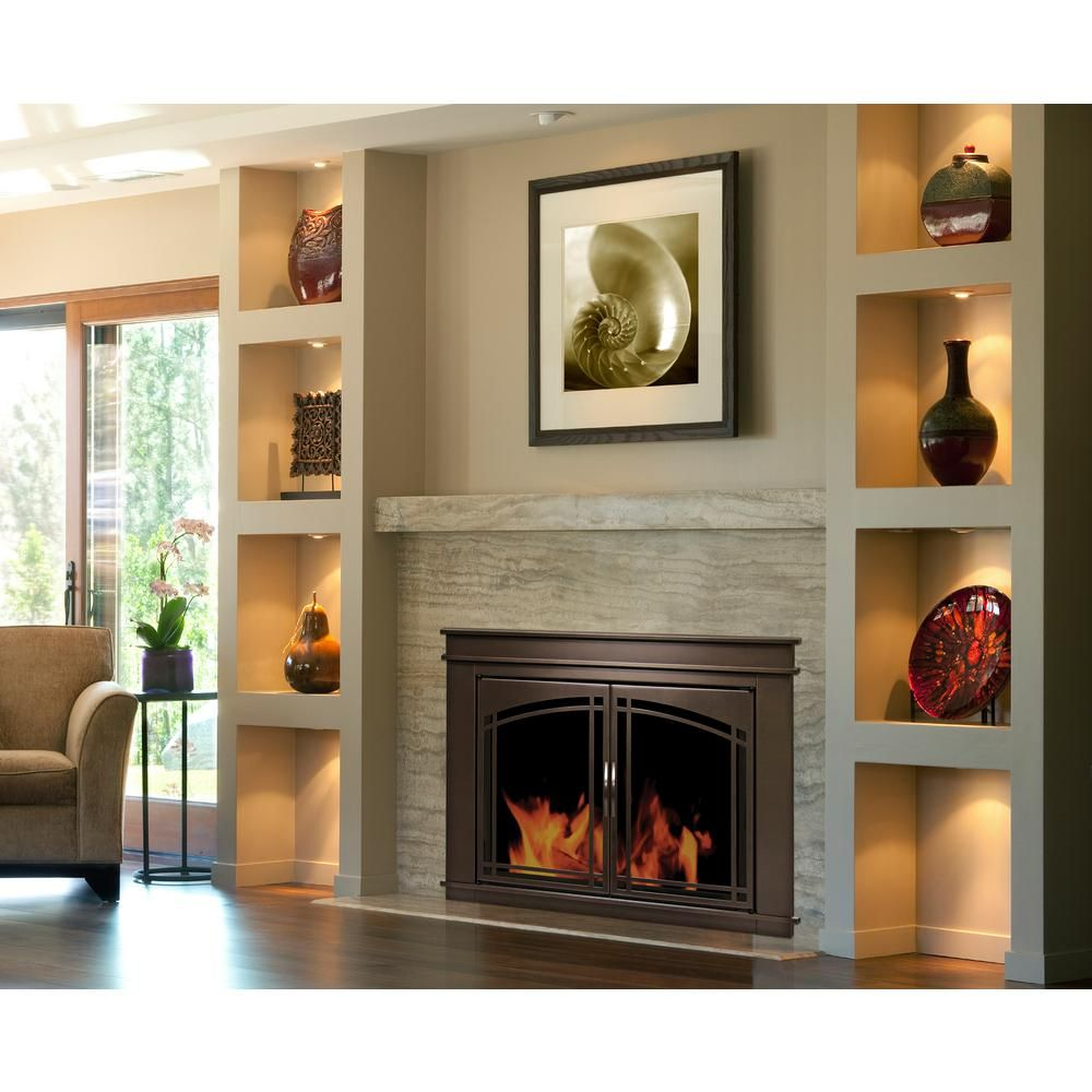 Pleasant Hearth Fenwick Medium Glass Fireplace Doors Fn 5701 The Home Depot In 2020 Built In Electric Fireplace Home Fireplace Glass Fireplace