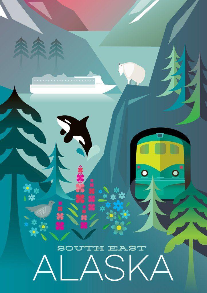 ALASKA, SOUTH EAST PRINT | Alaska | Pinterest | Cartelitos, Carteles ...