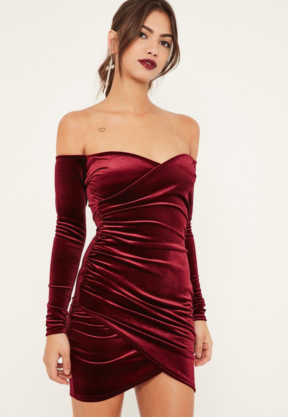 cf2fe2f3e90 Missguided - Burgundy Bardot Wrap Long Sleeve Velvet Dress