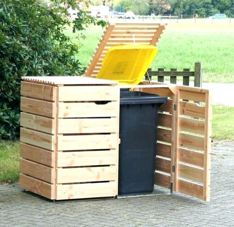 Outdoor Trash Shed Wooden Trash Can With Lid Wooden Garbage Can