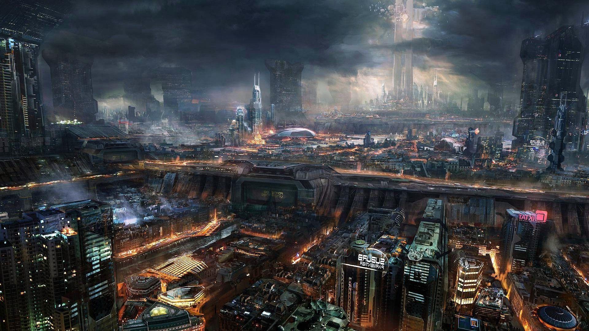 Cyberpunk Landscape 1920x1080 R Wallpapers Steampunk City Futuristic City Steampunk Wallpaper