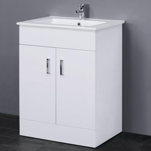 Trueping Minimalist White Gloss Vanity Unit With Ceramic Basin Sink Bathroom Storage Cloakroom Cabinet Furniture