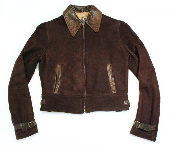 1930s Brown Suede and Leather Cropped Jacket by highclasshillbilly