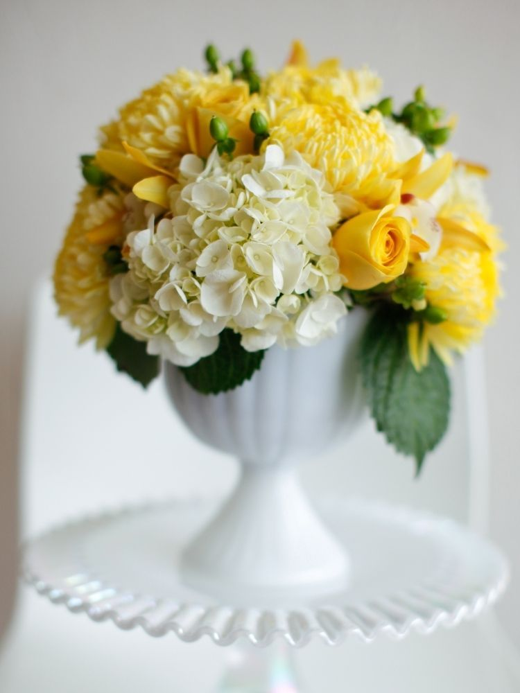 Yellow football mums yellow roses and white hydrangeas for Yellow flower arrangements centerpieces
