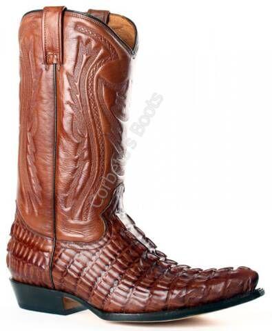 Bota cowboy Buffalo Boots imitación cola caimán color marrón para hombre
