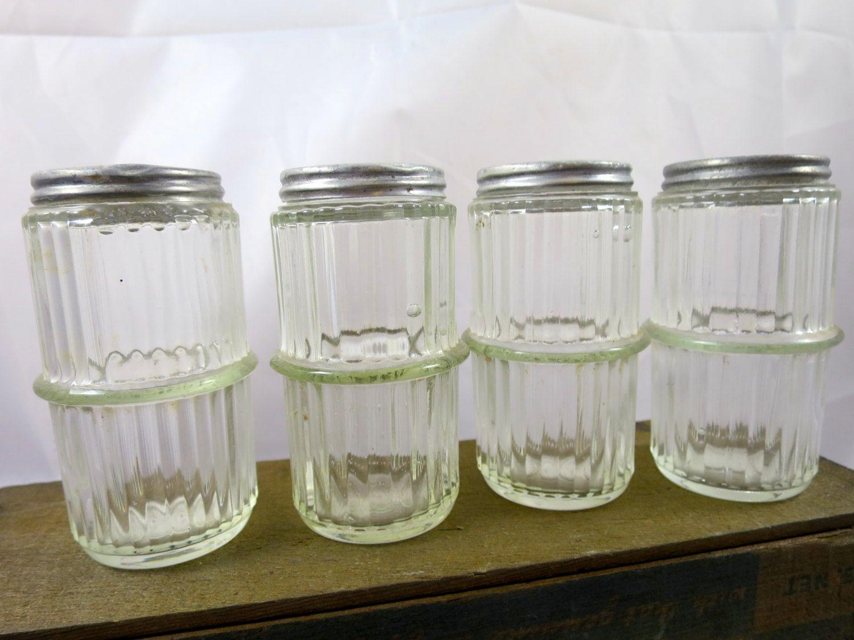 4 Hoosier Cabinet Spice Jars Ribbed Depression Glass Center Ring ...
