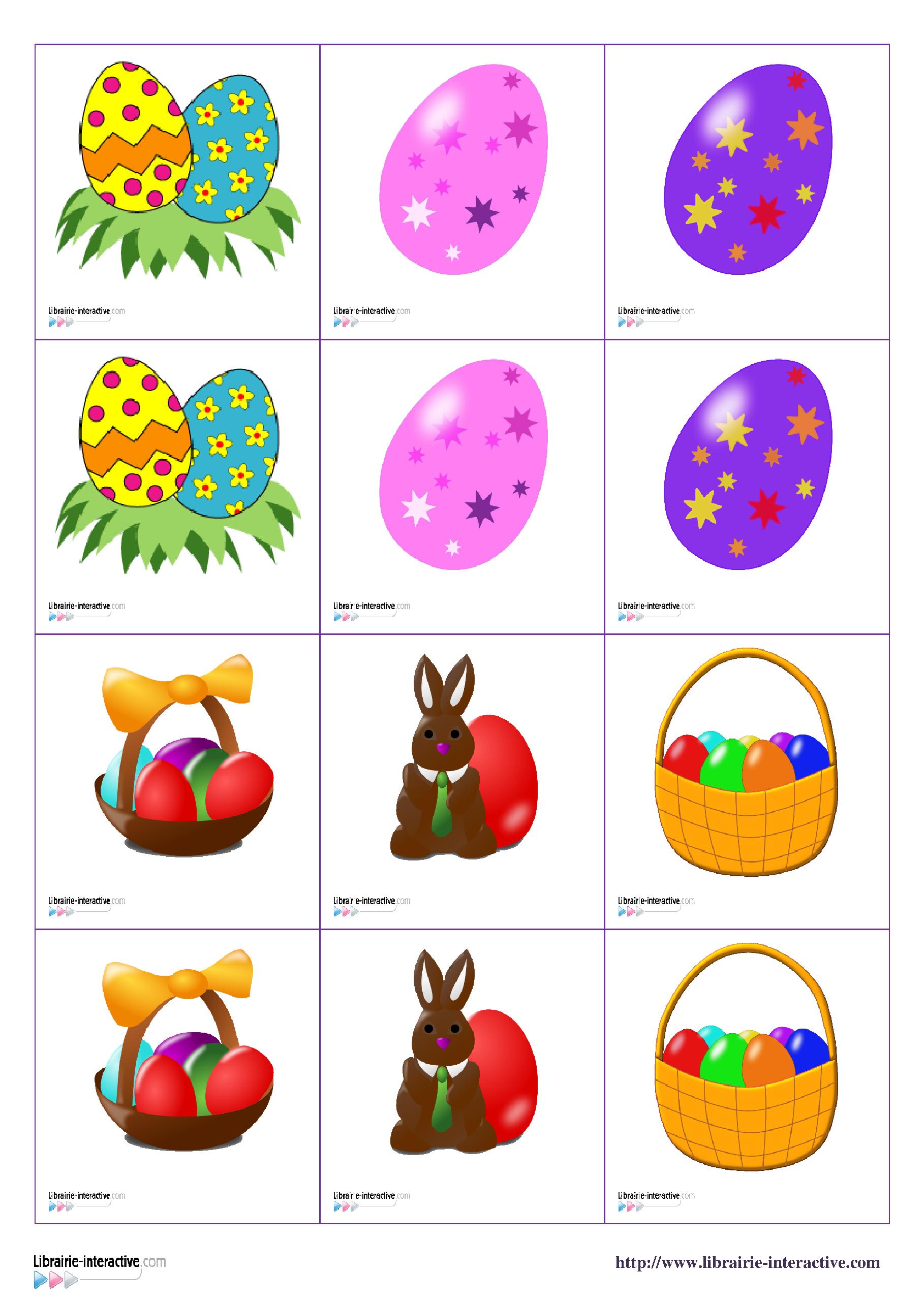 Un jeu de memory avec 24 paires d'images sur le th?me de Pâques ...