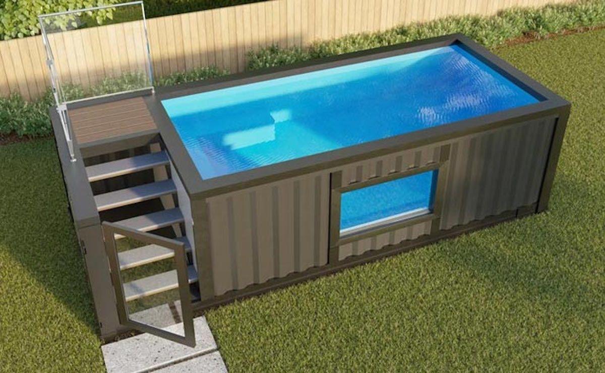 De Trend Voor Deze Zomer Een Zwembad Gemaakt Van Een Vrachtcontainer Zwembaden Bovengrondse Zwembaden Kleine Achtertuin Zwembaden