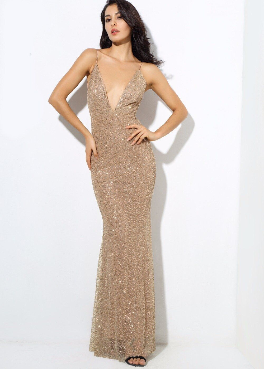 Goal Digger Gold Embellished Sequin Maxi Party Gown Dress Sparkly Dress Party Gown Dress Evening Dresses [ 1400 x 1000 Pixel ]