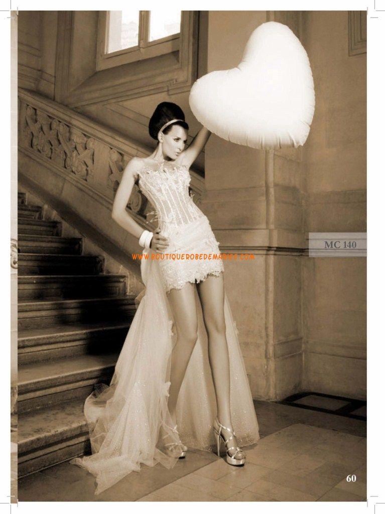 Robe mariee courte avec traine