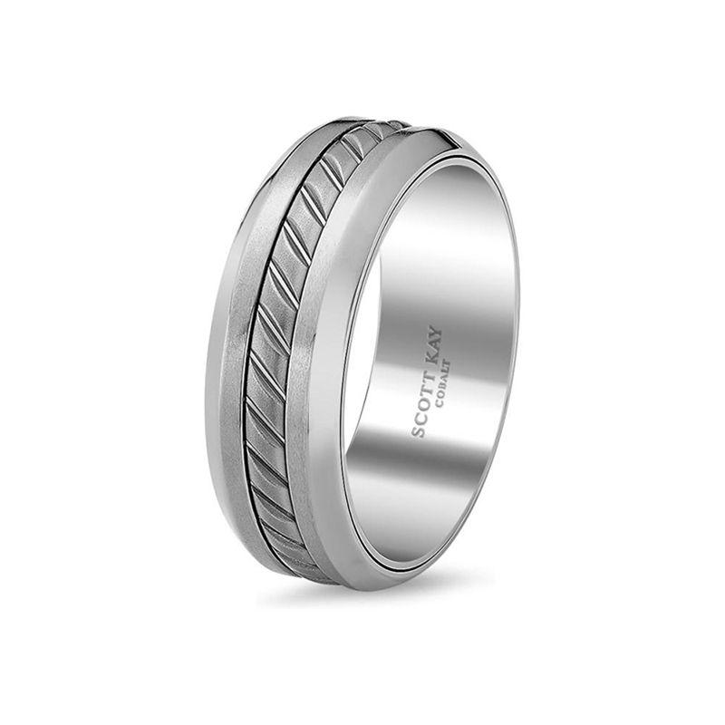 Grey cobalt black titanium mens wedding band from the