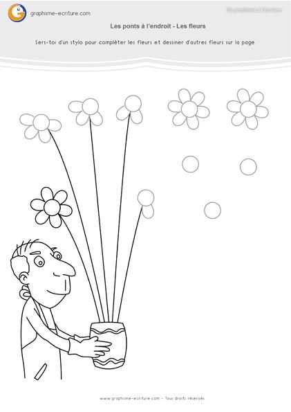 Activit maternelle de graphisme gs ponts l endroit chez le fleuriste compl te le bouquet en - Coloriage fleur 8 petales ...