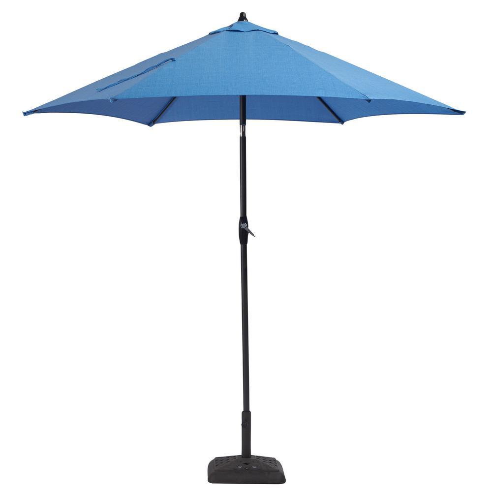 Hampton Bay 9 Ft Aluminum Patio Umbrella In Periwinkle With Tilt