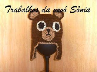 Trabalhos da vovó Sônia: Gorro para bebê ursinho marrom - crochê