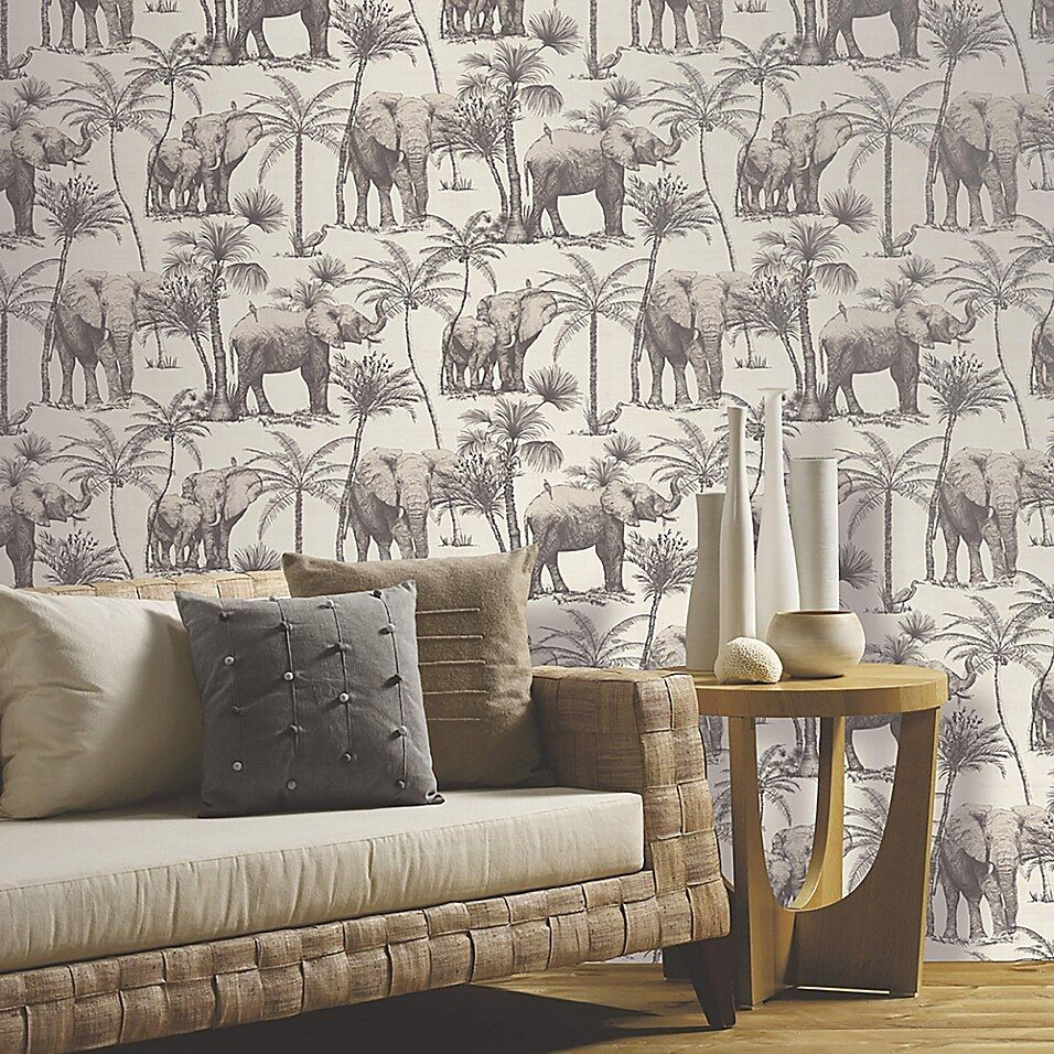 Arthouse Elephant Grove Non Woven Wallpaper In Charcoal Bed