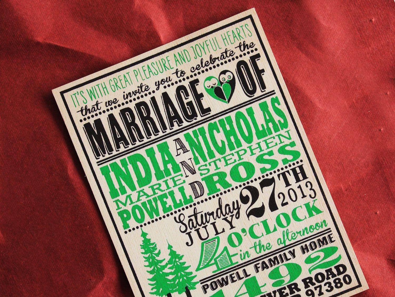Wooden Wedding invitations | Wood Wedding Invitations | Pinterest
