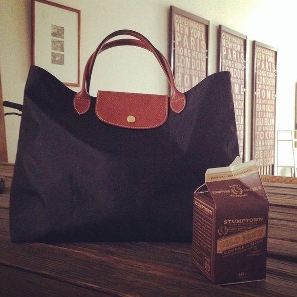 Longchamp black Cabas le pliage open tote bag | Tote bag ...