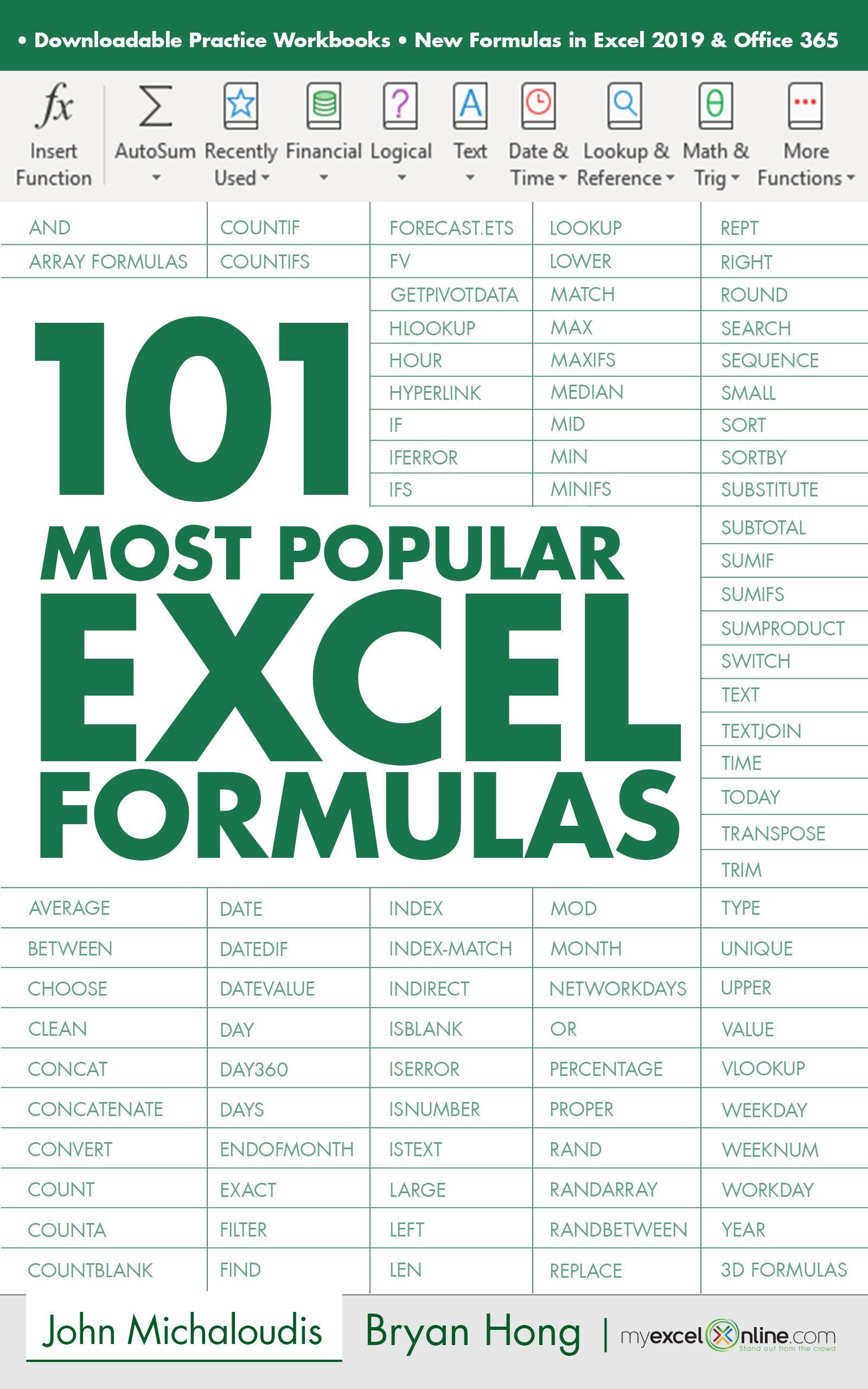 20 Most Popular Excel Formulas   Microsoft excel tutorial, Excel ...