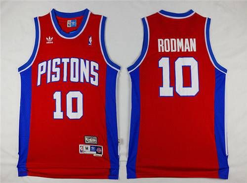 4888d5c95 Men s Detroit Pistons  10 Dennis Rodman Red Hardwood Classics Soul Swingman  Throwback Jersey