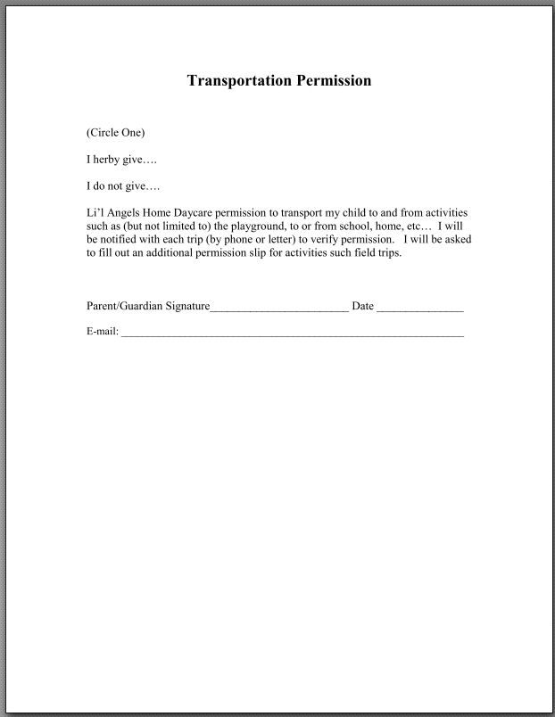 Liu0027l Angels Home Daycare-Home Preschool Pinterest Angel - permission slip template