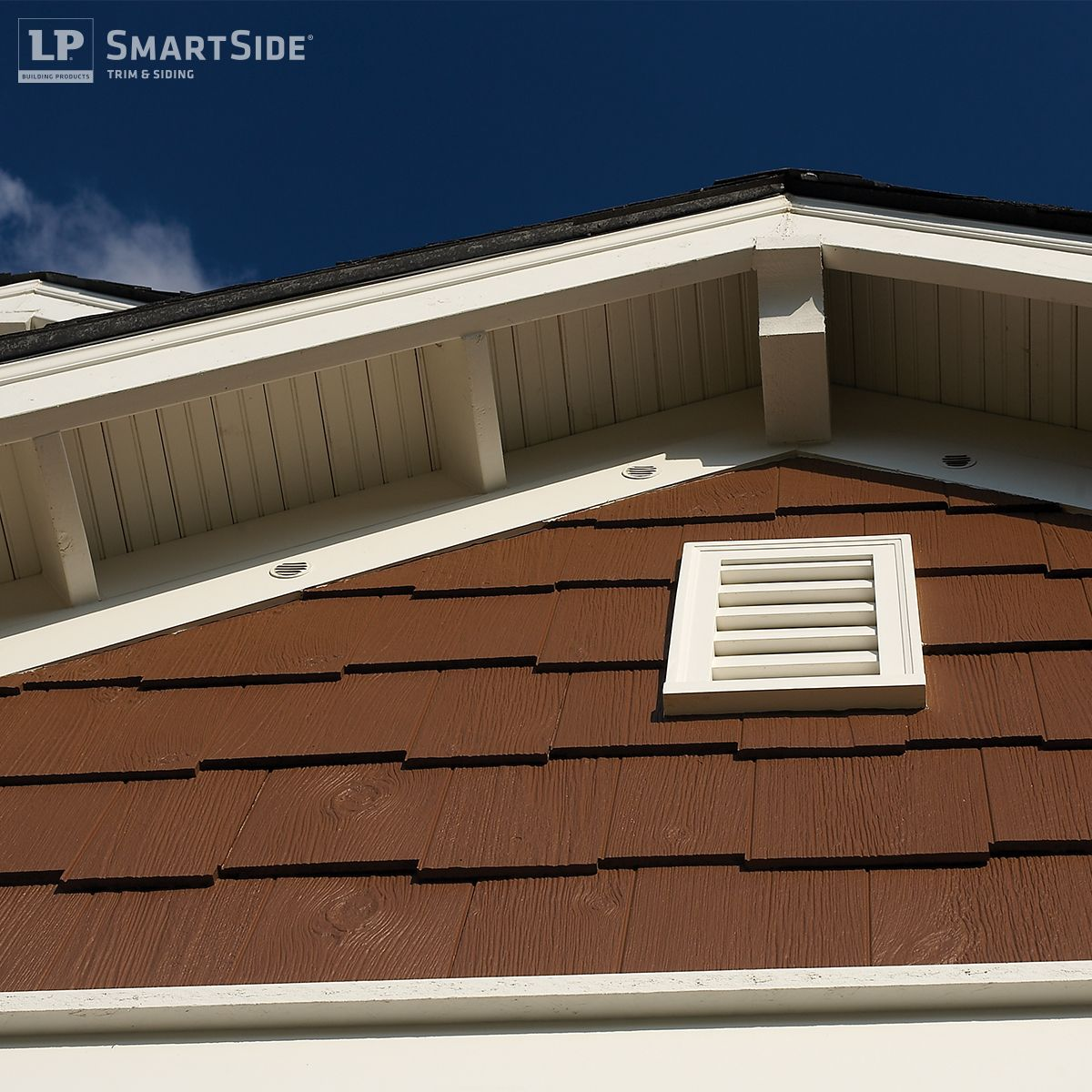 Get an up close look at lp smartside cedar shakes the for Lp engineered wood siding