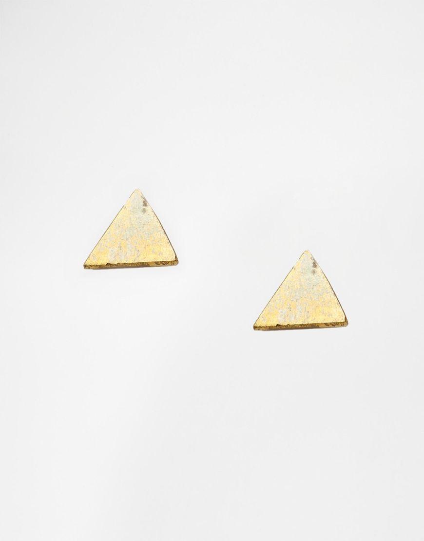 Ohrringe von Made goldfarben Ohrstecker Dreieckiges Design Kugelverschluss auf der Rückseite 100% Messing