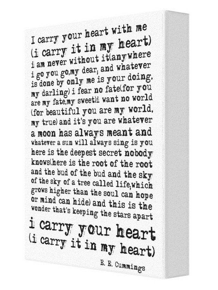 i carry your heart with me ee cummings poem canvas print option 1